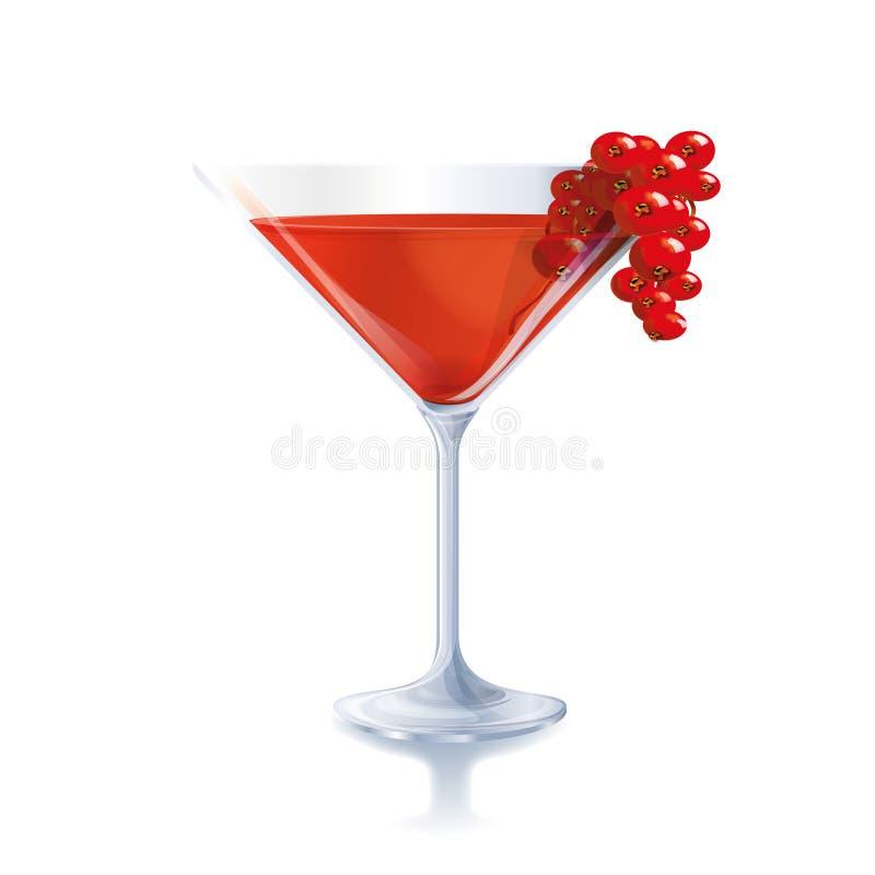 Cocktail com bagas vermelhas ilustração royalty free
