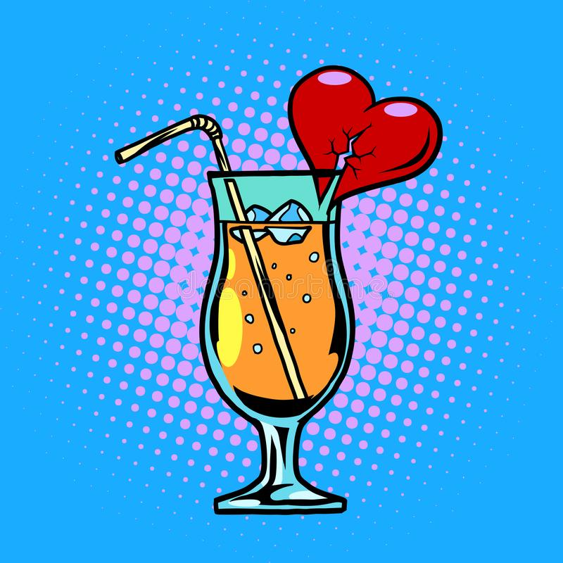 Cocktail com bebida do coração com palha e gelo ilustração stock