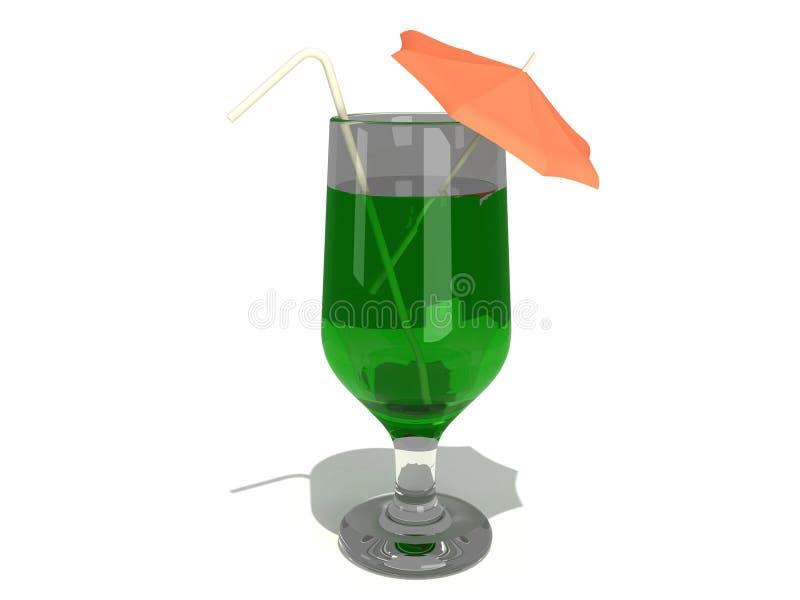 Cocktail com palha e guarda-chuva ilustração royalty free