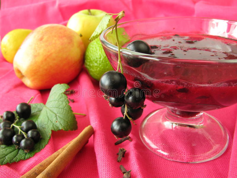 Cocktail com passas de Corinto pretas e outras frutas imagem de stock royalty free