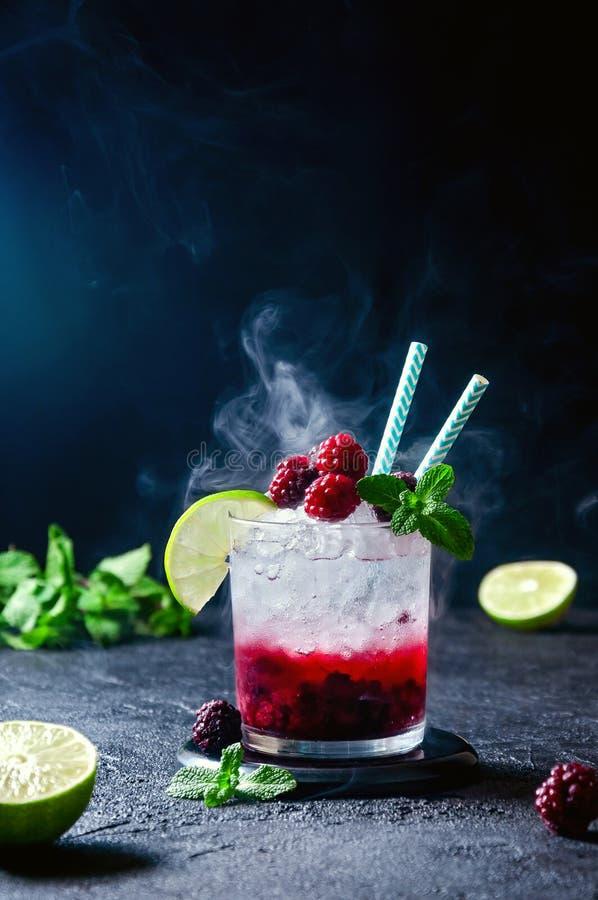 Cocktail com Rum ou Vodka, Soda, Raspberry e Blackberry Puree, Lime e Mint com Smok em Fundo Escuro fotos de stock royalty free