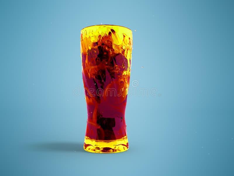 Cocktail con il limone e la menta in una rappresentazione vetro/vetro della parte anteriore 3d illustrazione vettoriale