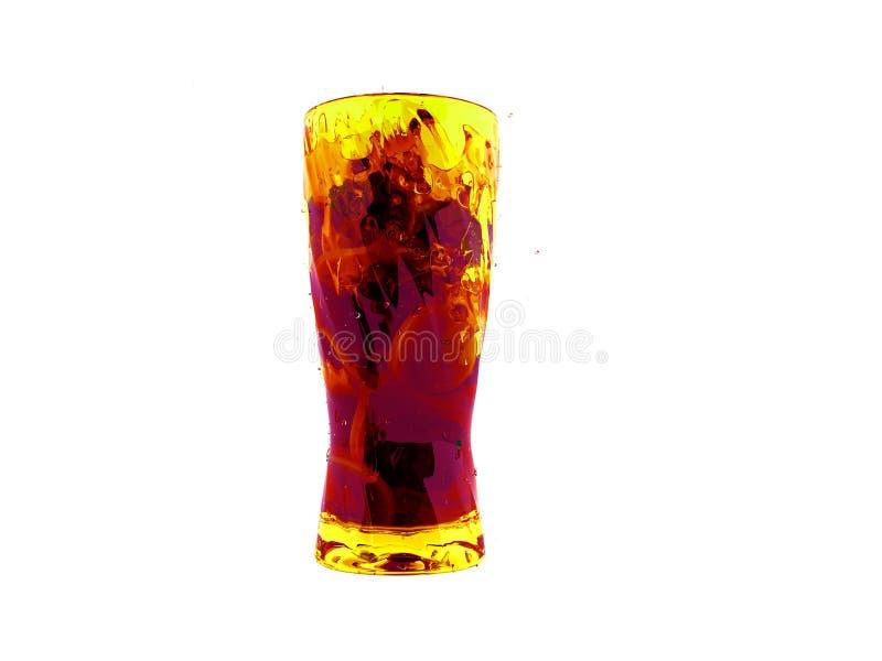 Cocktail con il limone e la menta in una rappresentazione vetro/vetro della parte anteriore 3d royalty illustrazione gratis