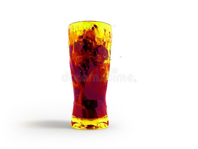Cocktail con il limone e la menta in una rappresentazione vetro/vetro della parte anteriore 3d sul fondo bianco con ombra illustrazione di stock