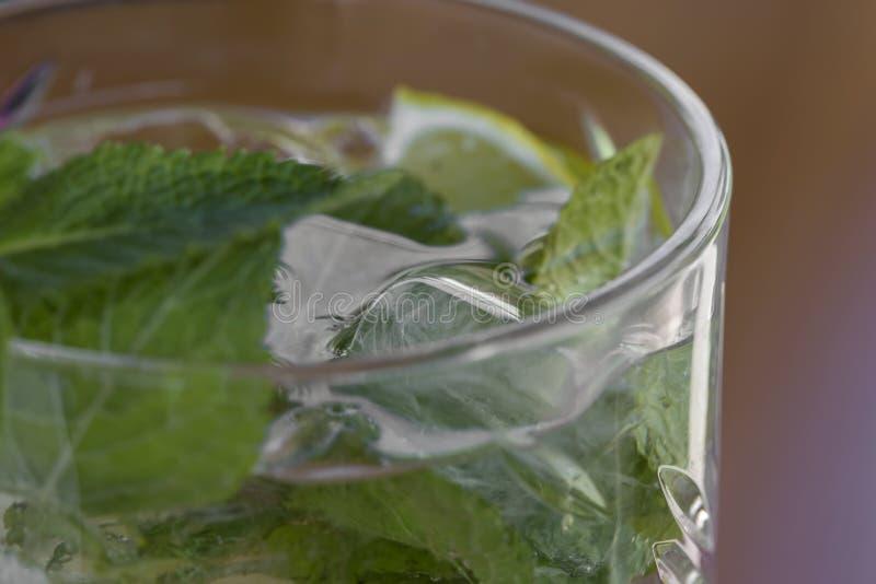 Cocktail con vodka, la menta ed il limone in vetro fotografia stock libera da diritti