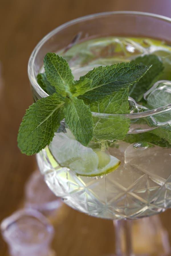 Cocktail con vodka, la menta ed il limone in vetro sulla barra fotografie stock libere da diritti