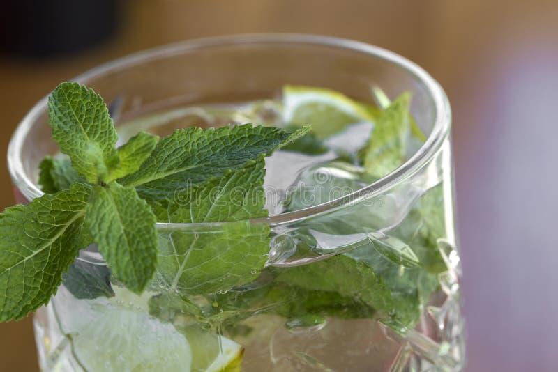 Cocktail con vodka, la menta ed il limone in vetro sulla barra fotografia stock