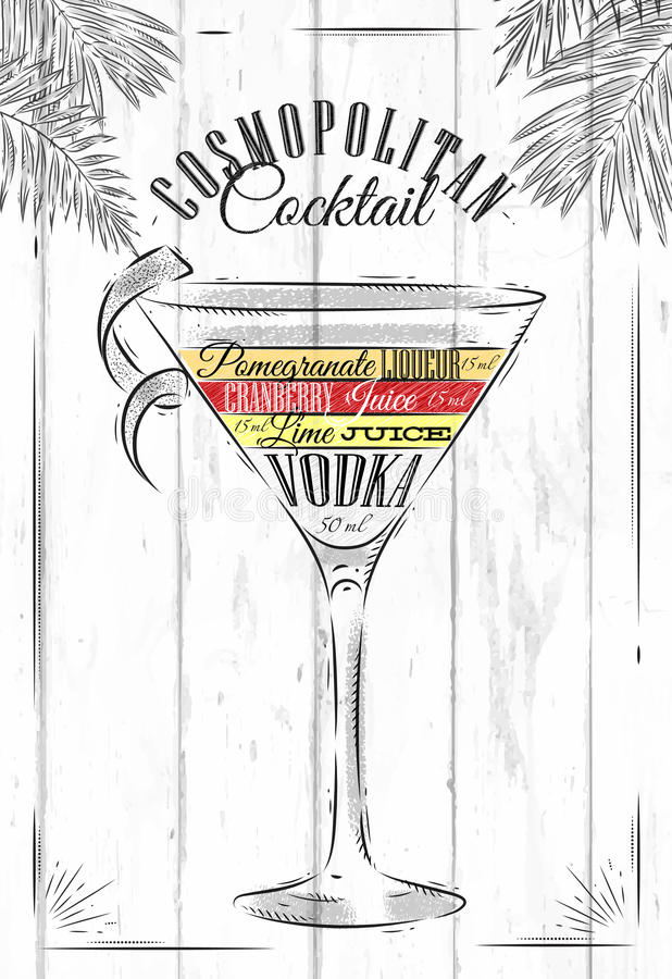 Cocktail cosmopolita illustrazione vettoriale