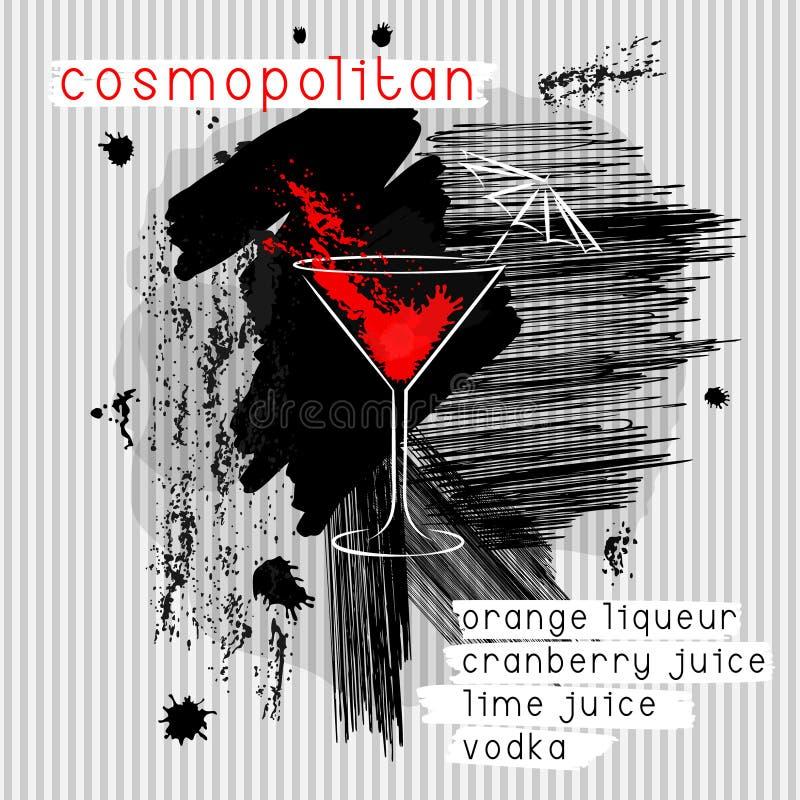 Cocktail cosmopolite dans le style grunge illustration de vecteur
