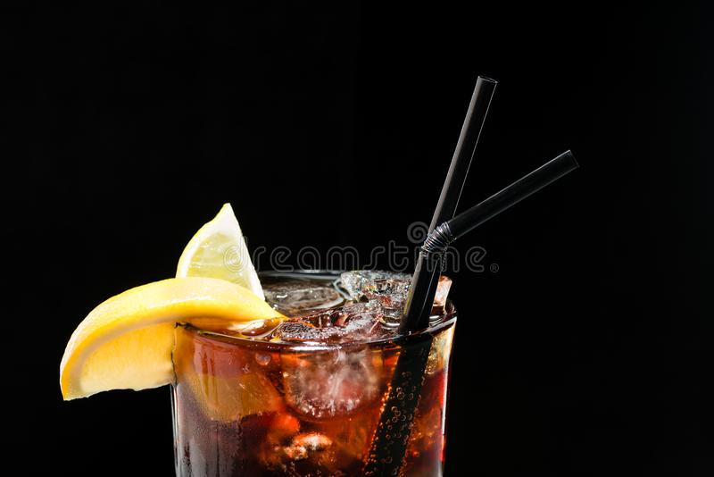 Cocktail Cuba Libra, rum with cola and ice royalty free stock images