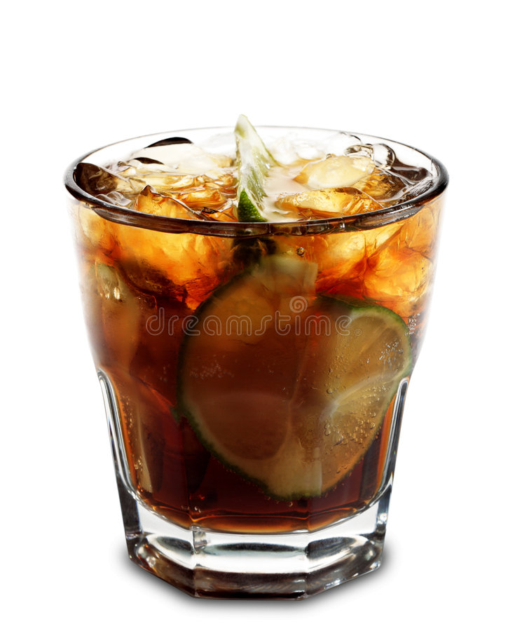 Cocktail - Cuba Libre. Alcoholic Cocktail - Cuba Libre made of Cola, Lime and Rum. Isolated on White Background stock image
