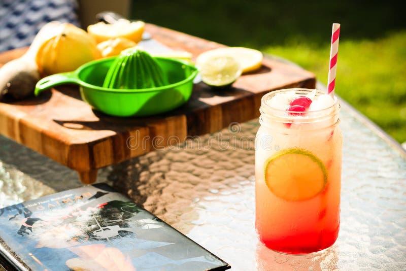 Cocktail d'été avec des ingrédients et un bon livre photos stock