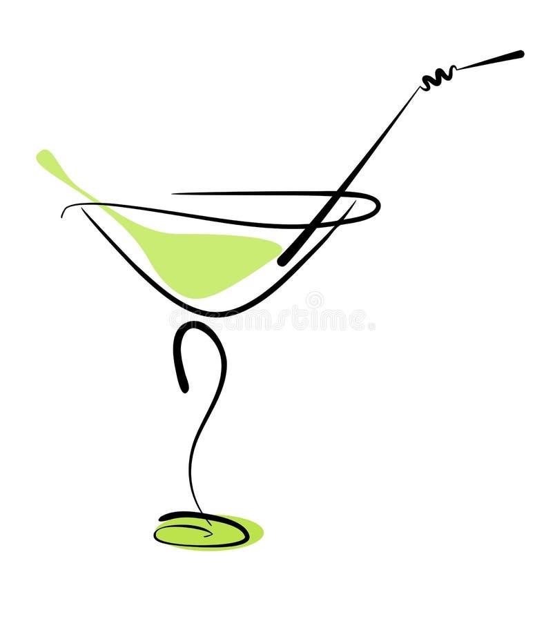 Cocktail d'alcool en glace avec la paille illustration de vecteur