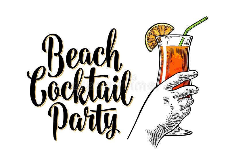 Cocktail d'alcool Sexe sur la plage Gravure de vintage avec le lettrage illustration libre de droits