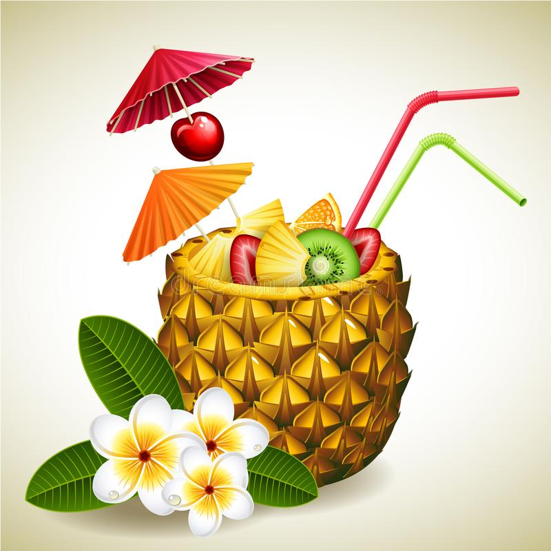 Cocktail d'ananas illustration stock