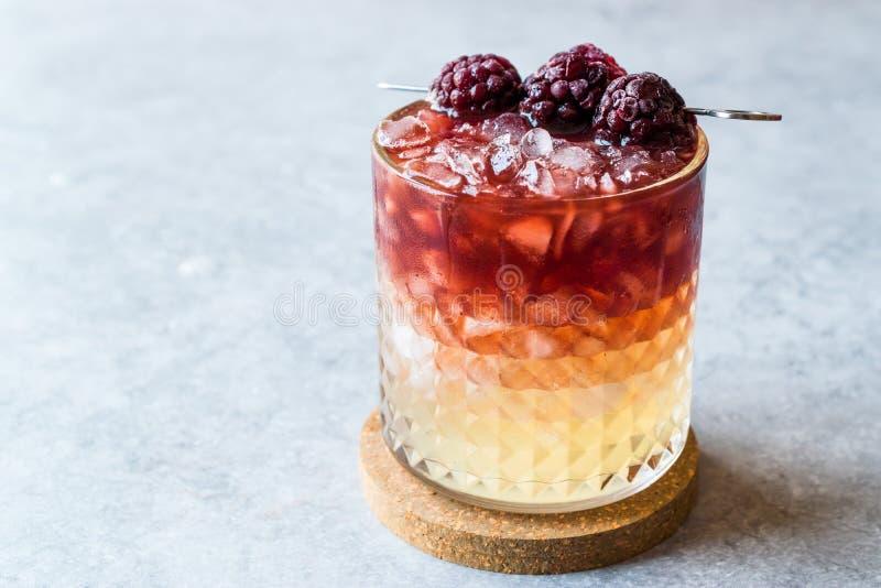 Cocktail da amora com amoras-pretas e gelo esmagado imagem de stock