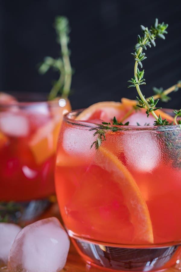 Cocktail da toranja, do tomilho e do gelo Bebida de refrescamento foto de stock