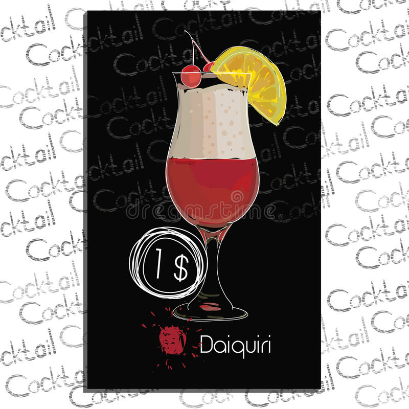Cocktail Daiquiri with price on chalk board. Template elements for bar royalty free stock images