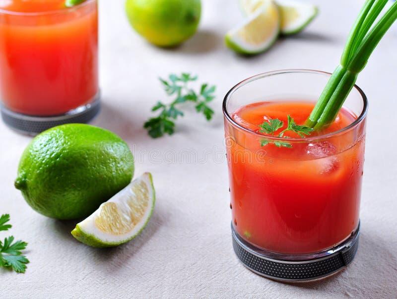 Cocktail de bloody mary avec le céleri, le Tabasco, le poivre, le sel de mer et la sauce Worcestershire images libres de droits