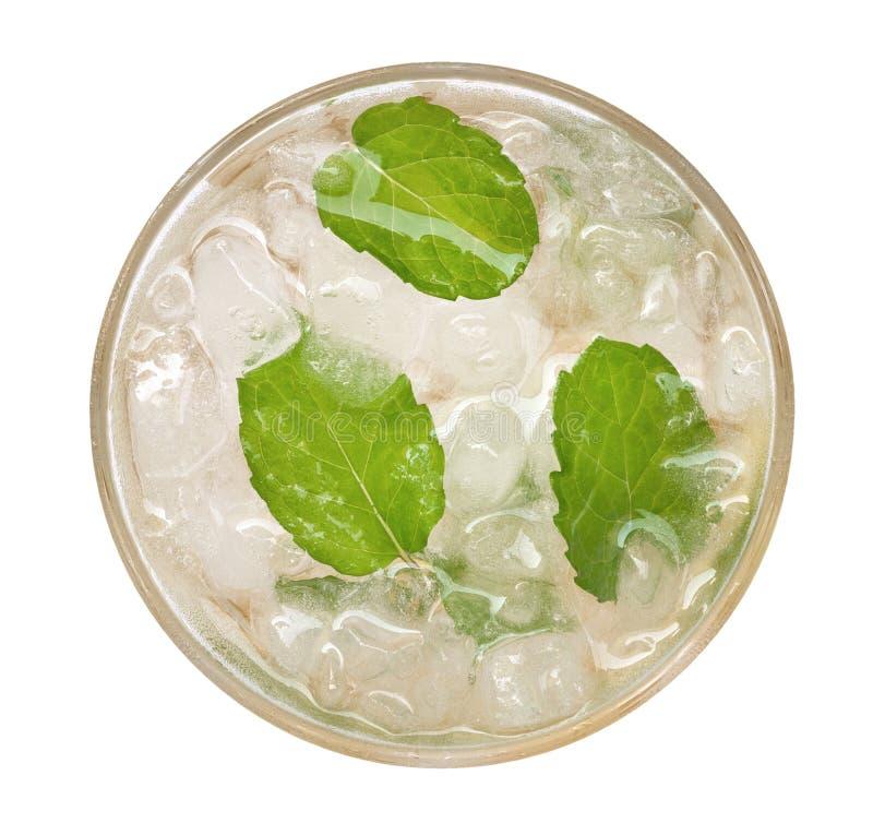 Cocktail de boissons de mojito de soude de chaux avec la vue supérieure en bon état d'isolement sur le fond blanc, chemin photos stock