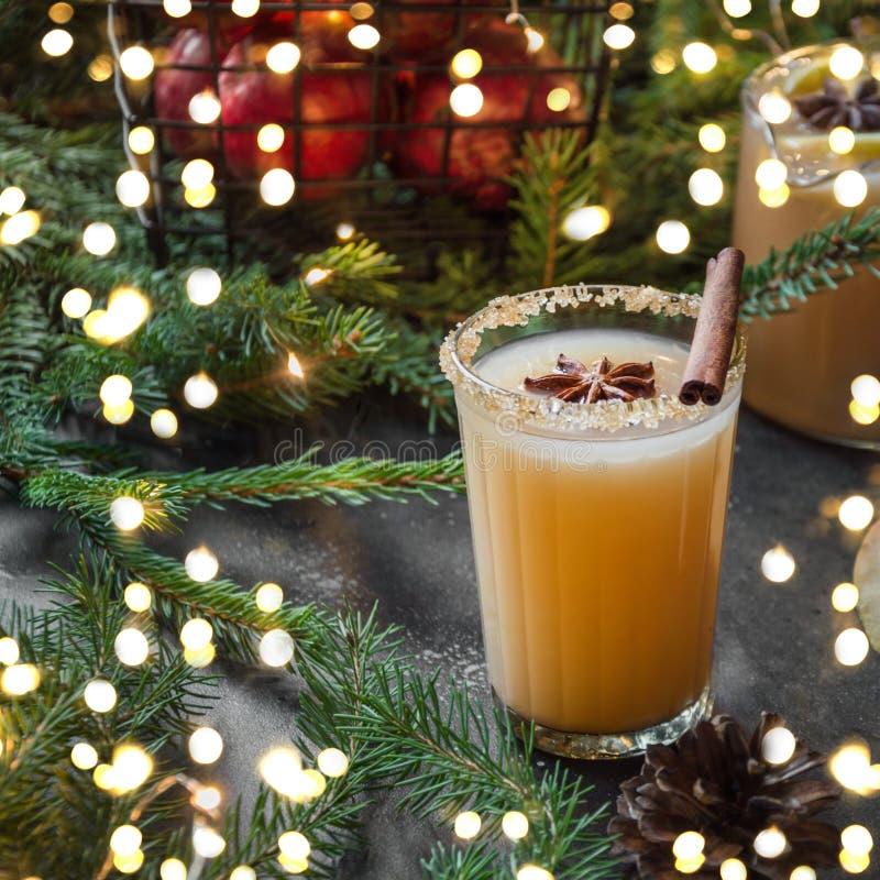 Cocktail de cidre d'Apple avec l'anis de cardamome et d'étoile avec des branches d'arbre de sapin Fête de Noël image stock