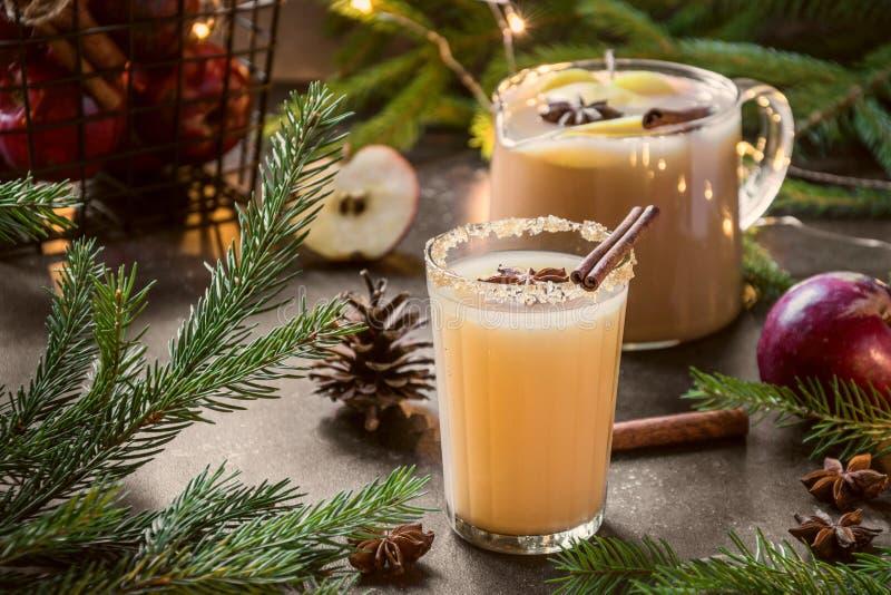 Cocktail de cidre d'Apple avec l'anis de cardamome et d'étoile sur la table noire avec des branches d'arbre de sapin image libre de droits