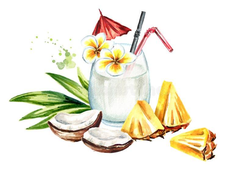 Cocktail de colada de Pina avec la noix de coco et le pineaple Illustration tirée par la main d'aquarelle, d'isolement sur le fon illustration stock