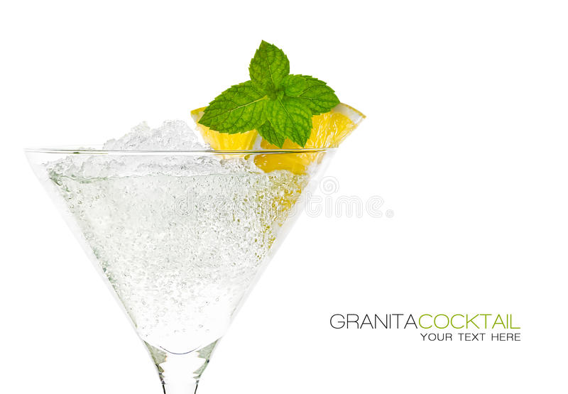 Cocktail de Granita no vidro de Martini projeto do molde fotografia de stock