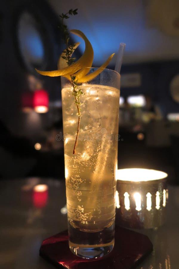Cocktail de Highball avec la torsion et le thym de citron photo libre de droits