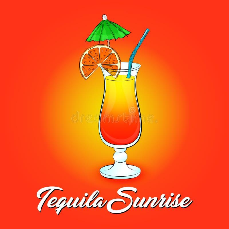 Cocktail de lever de soleil de tequila sur le fond orange illustration libre de droits