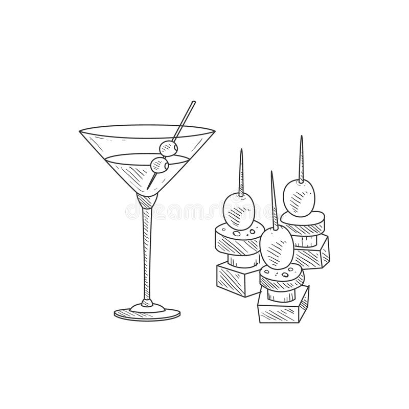 Cocktail de Martini avec le croquis réaliste d'Olive And Canape Hand Drawn illustration libre de droits