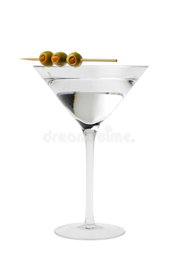 Cocktail de Martini com azeitonas foto de stock
