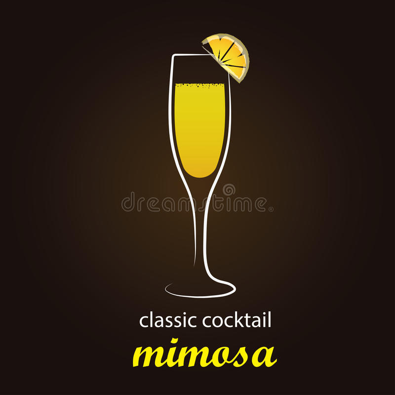 Cocktail de mimosa en verre de cannelure authentique illustration de vecteur