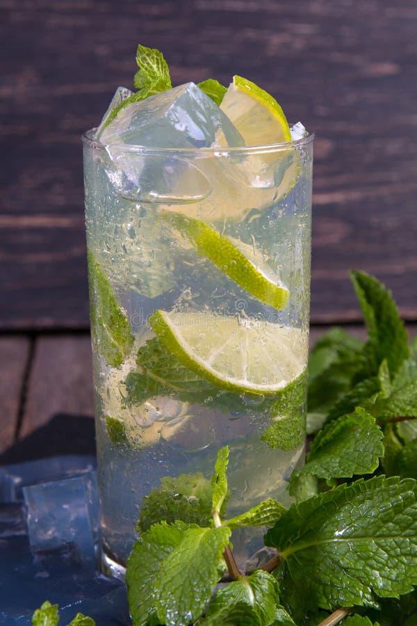 Cocktail de Mojito com cal e gelo fotografia de stock