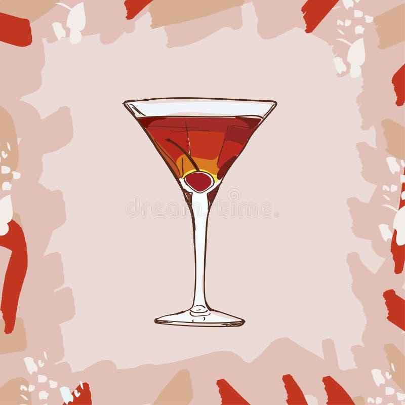 Cocktail de Rob Roy com ilustração da guarnição da cereja Vetor tirado da bebida da barra mão clássica alcoólica Pop art ilustração do vetor