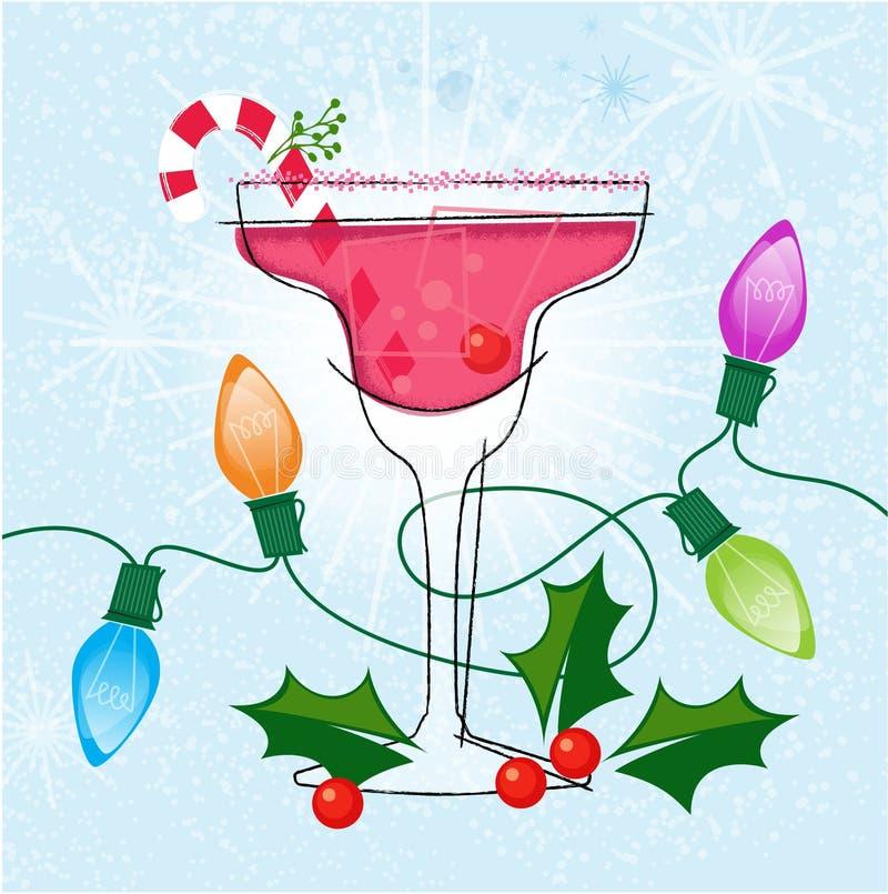 Cocktail de vacances avec les lumières et le houx de Noël illustration stock