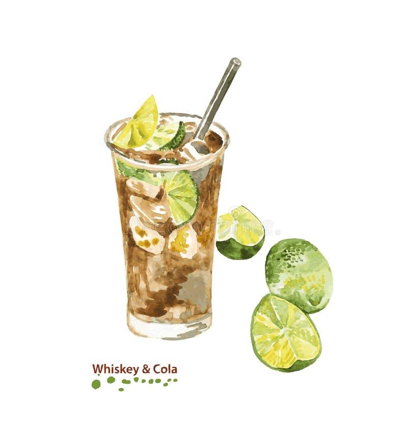 Cocktail de whiskey et de kola d'aquarelle en verre illustration libre de droits