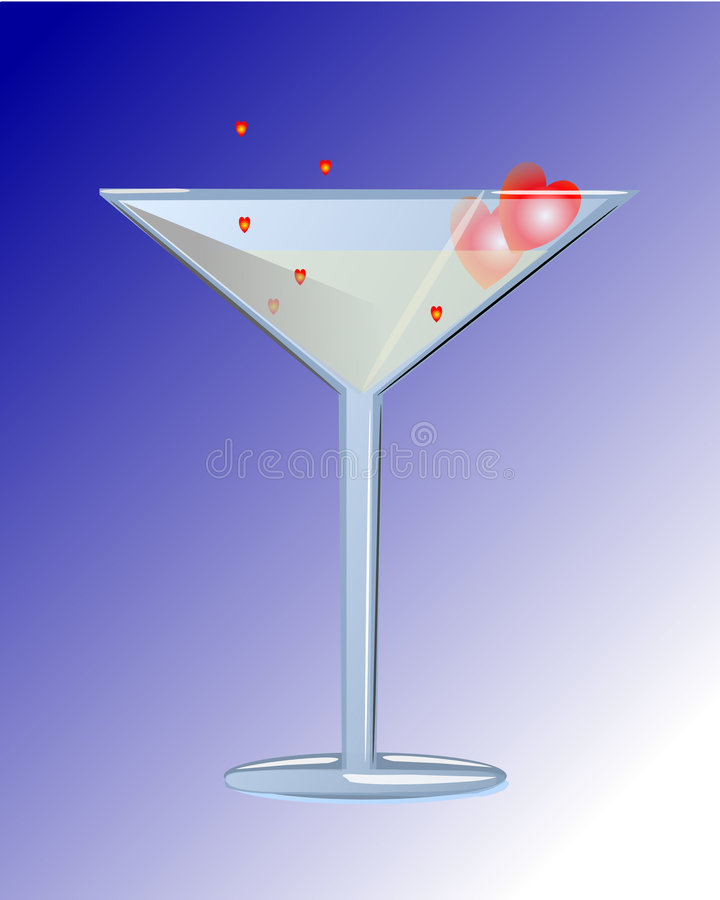Cocktail del biglietto di S. Valentino fotografia stock libera da diritti