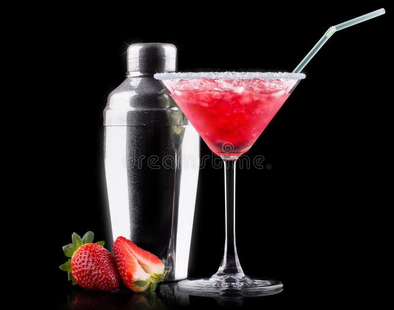 Cocktail del dispositivo di raffreddamento della bacca sul nero immagini stock