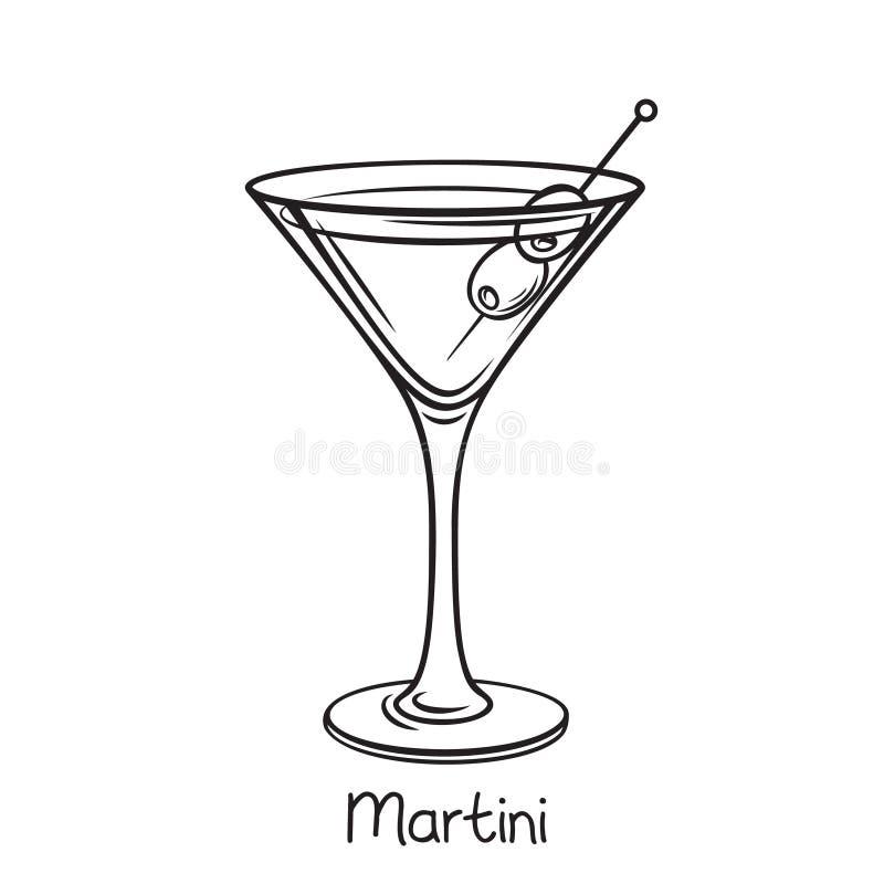 Cocktail del Martini con le olive royalty illustrazione gratis