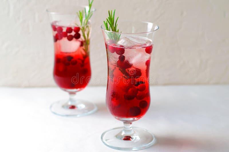 Cocktail del mirtillo rosso con ghiaccio e Rosemary On White Background fotografia stock