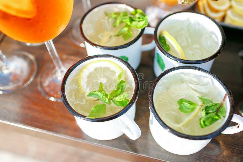 Cocktail del mulo di Mosca con il limone, la menta ed il cetriolo fotografie stock libere da diritti
