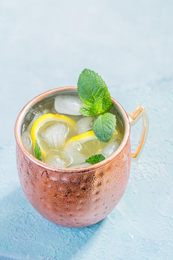 Cocktail del mulo di Mosca con la birra di zenzero, la vodka ed il limone immagine stock libera da diritti