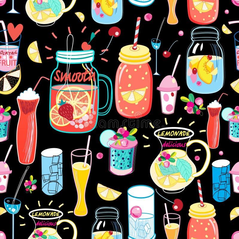 Cocktail deliciosos do teste padrão brilhante ilustração royalty free