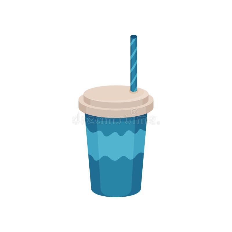 Cocktail delizioso in tazza di plastica blu con il coperchio e la cannuccia Bevanda saporita Icona piana di vettore illustrazione di stock