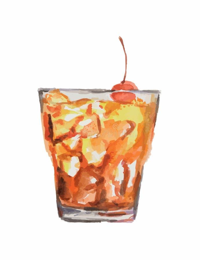 cocktail dell'acquerello illustrazione vettoriale