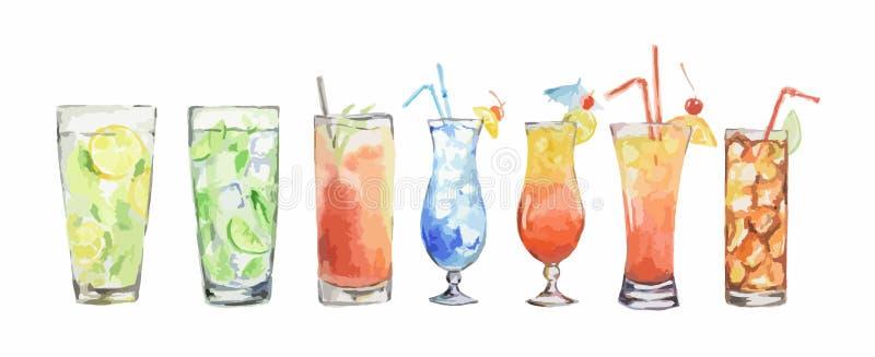 Cocktail dell'acquerello messi illustrazione di stock
