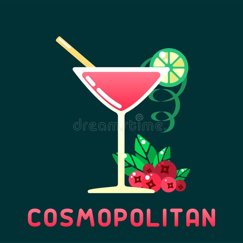 Cocktail dell'alcool cosmopolita con le decorazioni ed il nome royalty illustrazione gratis