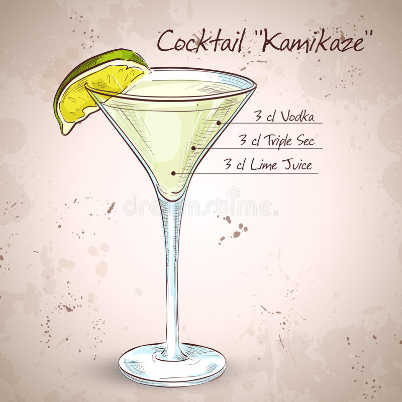 Cocktail dell'alcool delle kamikaze illustrazione vettoriale