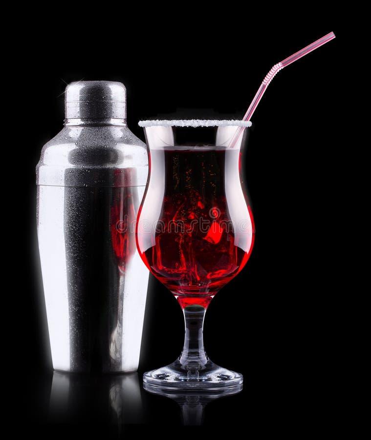 Cocktail dell'alcool messo con i frutti di estate fotografia stock
